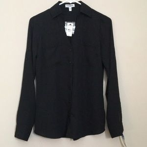 Express Black Button Down Dress Shirt
